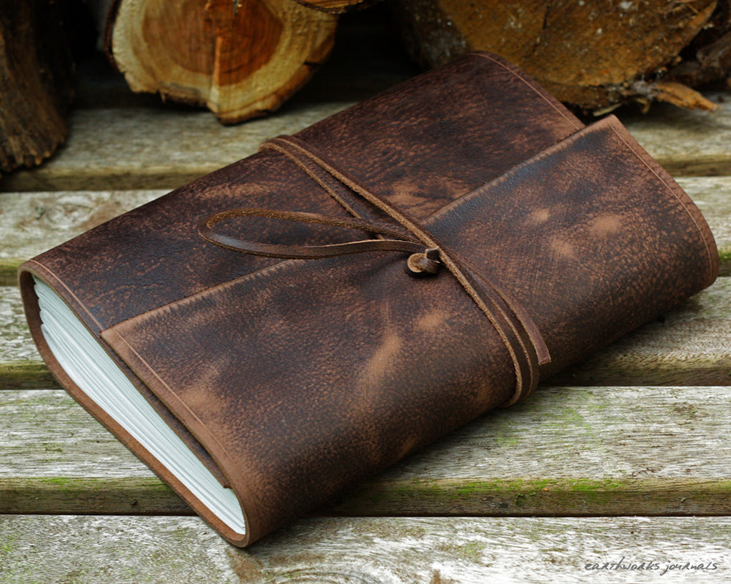A5 distressed dark brown leather journal - wraparound - earthworks journals - A5W012