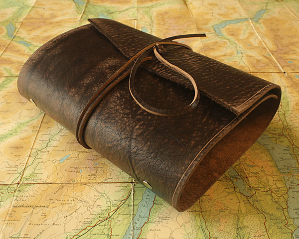 A5 distressed dark brown leather organiser - wraparound - earthworks journals - A5WB001
