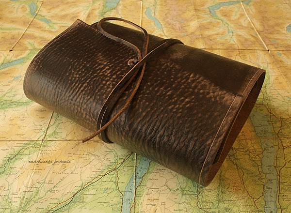 A5 distressed dark brown leather organiser - wraparound 2 - earthworks journals - A5WB001