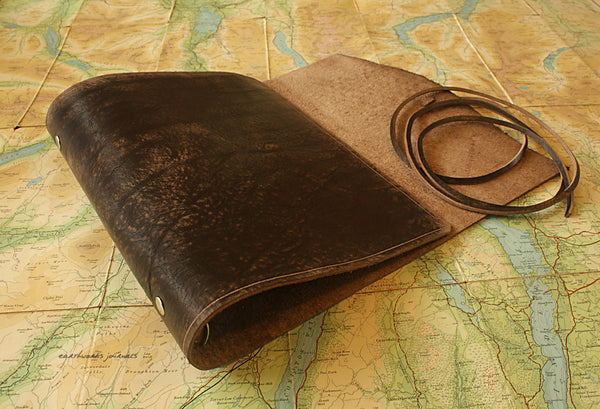 A5 distressed dark brown leather organiser - wraparound 3 - earthworks journals - A5WB001