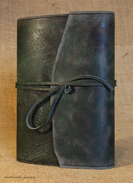A5 distressed green leather journal - wraparound 5 - earthworks journals - A5W014