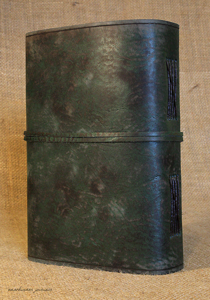 A5 distressed green leather journal - wraparound 6 - earthworks journals - A5W014