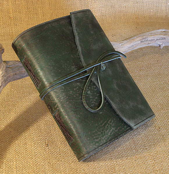 A5 distressed green leather journal - wraparound 3 - earthworks journals - A5W014