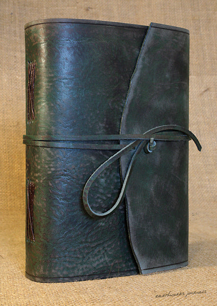 A5 distressed green leather journal - wraparound 4 - earthworks journals - A5W014