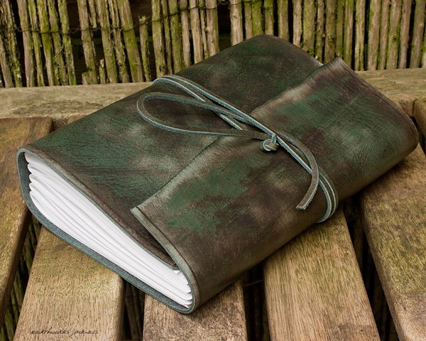 A5 distressed green leather journal - wraparound - earthworks journals - A5W014