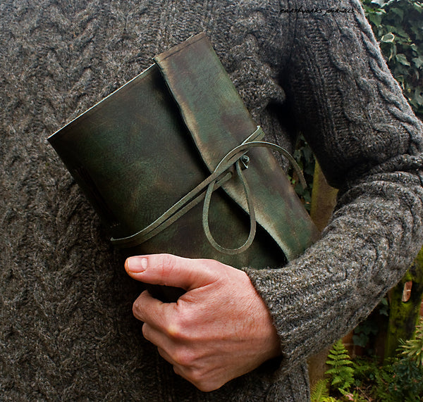 A5 distressed green leather journal - wraparound 2 - earthworks journals - A5W014