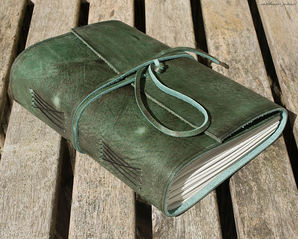 A5 distressed green leather journal 2 - wraparound - earthworks journals - A5W014