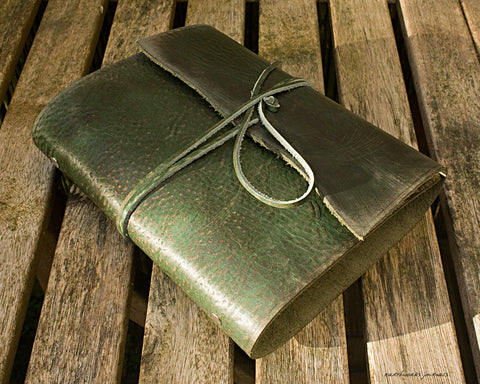 A5 distressed green leather organiser - wraparound - earthworks journals - A5WB005