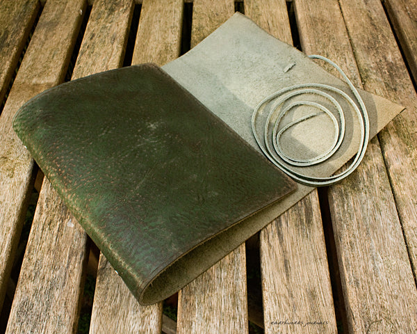 A5 distressed green leather organiser - wraparound 2 - earthworks journals - A5WB005