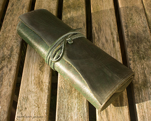A5 distressed green leather organiser - wraparound 4 - earthworks journals - A5WB005