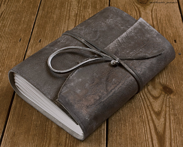 A5 distressed grey leather journal 2 - wraparound - earthworks journals - A5W016