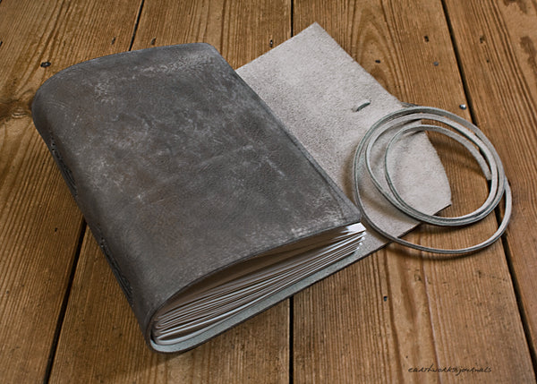 A5 distressed grey leather journal open  - wraparound - earthworks journals - A5W016