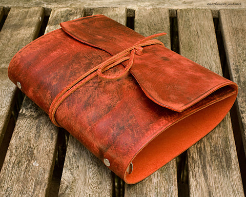 A5 distressed oxblood red leather organiser - wraparound  - earthworks journals - A5WB004