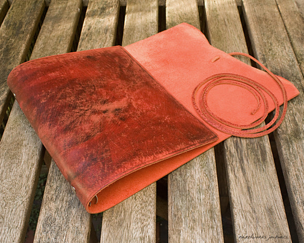 A5 distressed oxblood red leather organiser - wraparound 2 - earthworks journals - A5WB004