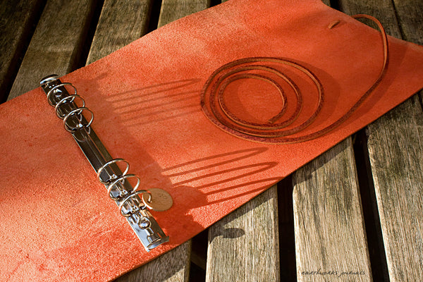 A5 distressed oxblood red leather organiser - wraparound 3 - earthworks journals - A5WB004