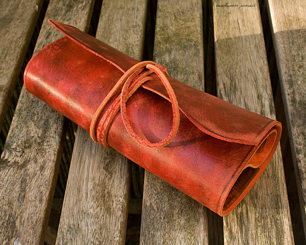 A5 distressed oxblood red leather organiser - wraparound 4 - earthworks journals - A5WB004