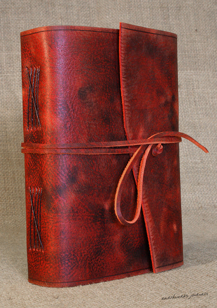 A5 distressed oxblood red leather journal 5 - wraparound - earthworks journals - A5W013