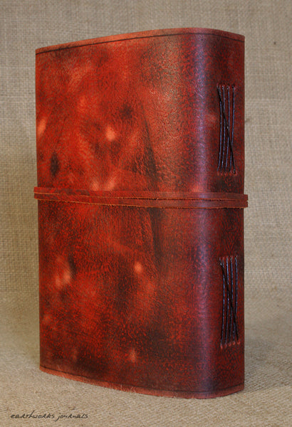 A5 distressed oxblood red leather journal 6 - wraparound - earthworks journals - A5W013