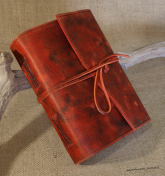 A5 distressed oxblood red leather journal 3 - wraparound - earthworks journals - A5W013