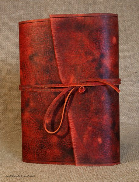 A5 distressed oxblood red leather journal 4 - wraparound - earthworks journals - A5W013