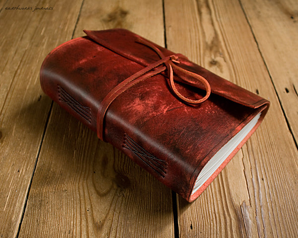 A5 distressed oxblood red leather journal 2 - wraparound - earthworks journals - A5W013