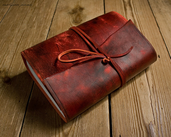 A5 distressed oxblood red leather journal - wraparound - earthworks journals - A5W013