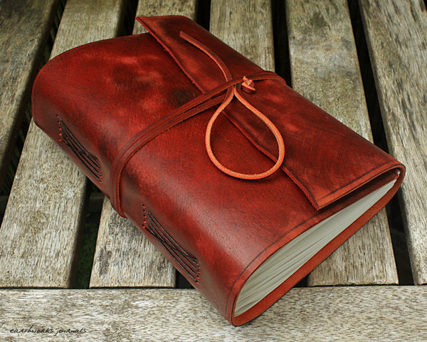 A5 distressed oxblood red leather journal - wraparound 6 - earthworks journals - A5W013