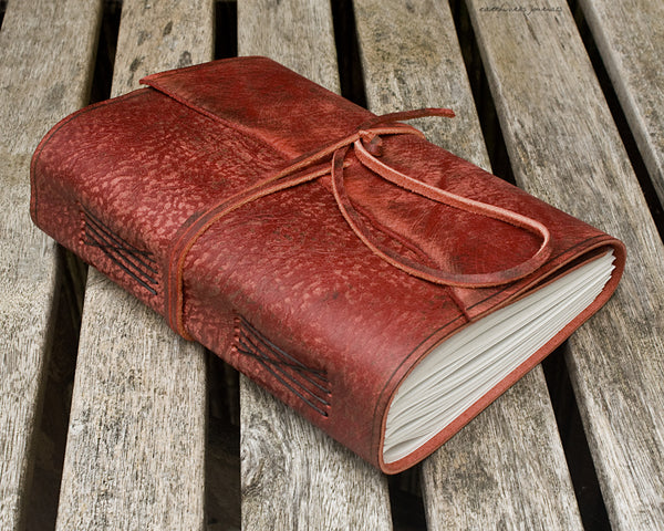 A5 distressed oxblood red leather journal - wraparound 7 - earthworks journals - A5W013