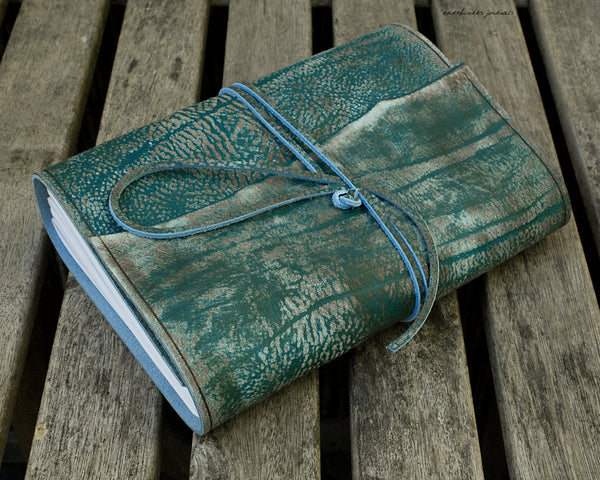 A5 distressed sea blue leather journal 2 - wraparound - earthworks journals - A5W019