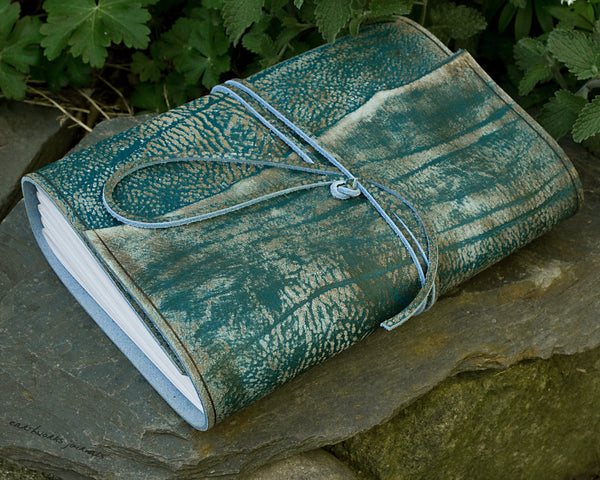 A5 distressed sea blue leather journal - wraparound - earthworks journals - A5W019