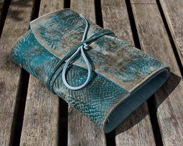 A5 distressed sea blue leather organiser - wraparound - earthworks journals - A5WB011