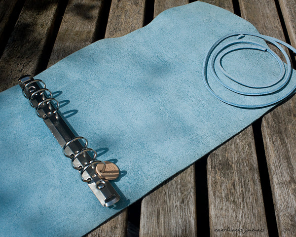 A5 distressed sea blue leather organiser 3 - wraparound - earthworks journals - A5WB011