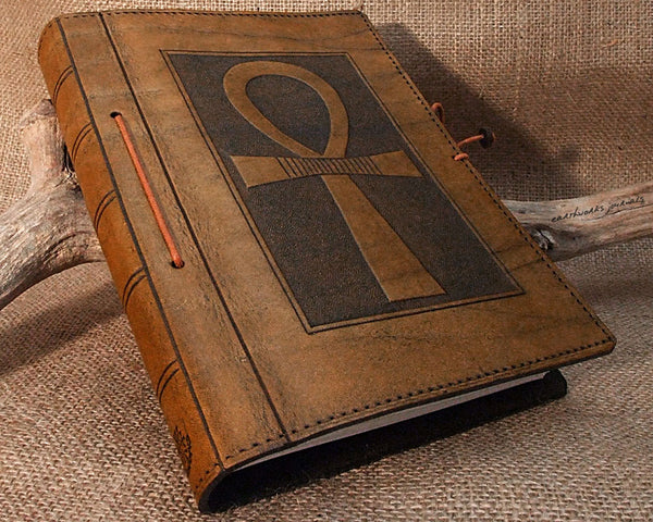 A5 brown leather journal - egyptian ankh - earthworks journals - A5C008
