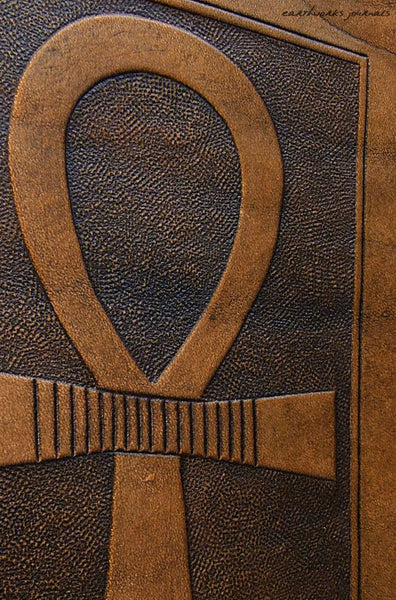 A5 brown leather journal - egyptian ankh detail - earthworks journals - A5C008