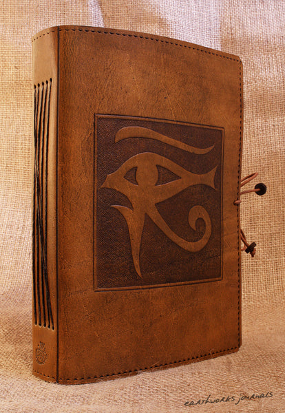 A5 brown leather journal - eye of horus 2 - earthworks journals - A5C016
