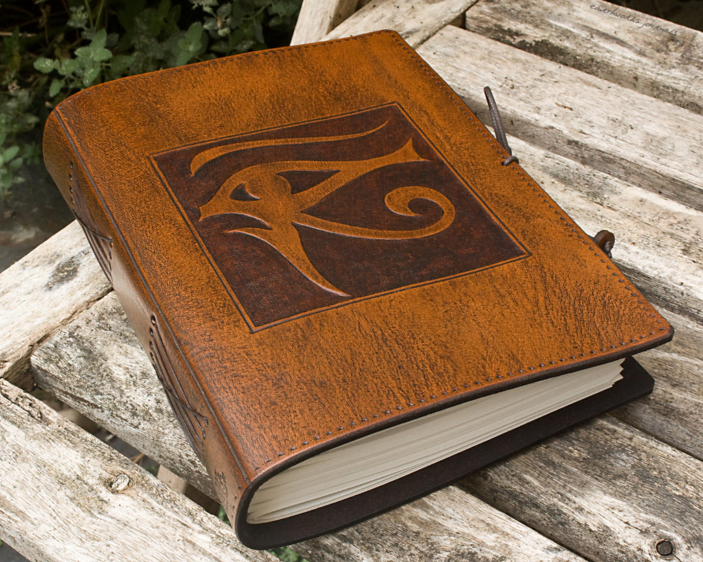 A5 brown leather journal - eye of horus - earthworks journals - A5C016
