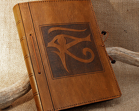 A5 brown leather journal - egyptian eye of horus - earthworks journals - A5C018