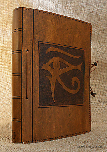 A5 brown leather journal - egyptian eye of horus 2 - earthworks journals - A5C018