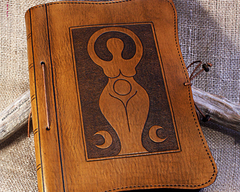 A5 brown leather journal - book of shadows - triple moon goddess design - earthworks journals - A5C007