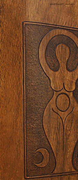 A5 brown leather journal - triple moon goddess detail - earthworks journals - A5C038