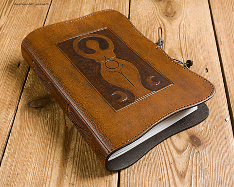 A5 brown leather journal - triple moon goddess 4 - earthworks journals - A5C038