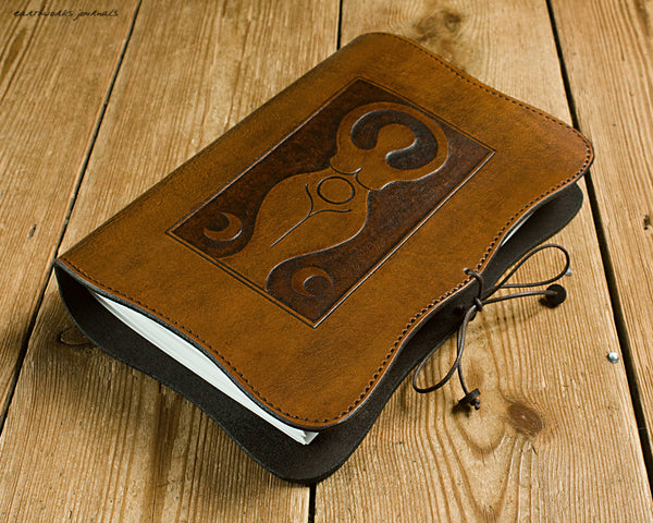 A5 brown leather journal - triple moon goddess 5 - earthworks journals - A5C038