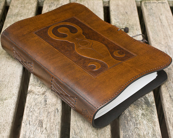 A5 brown leather journal - triple moon goddess 1 - earthworks journals - A5C038