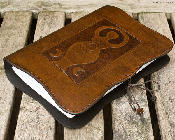 A5 brown leather journal - triple moon goddess 2 - earthworks journals - A5C038