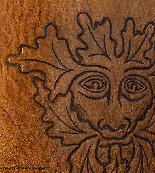 A5 brown leather journal - pagan green man detail - earthworks journals - A5C006