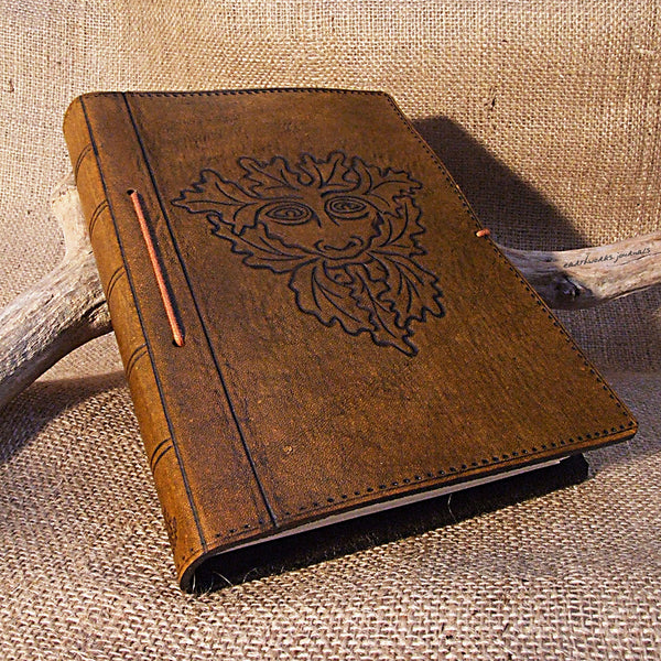A5 brown leather journal - pagan green man - earthworks journals - A5C005