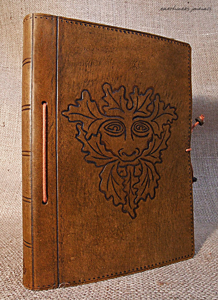 A5 brown leather journal - pagan green man 2 - earthworks journals - A5C005