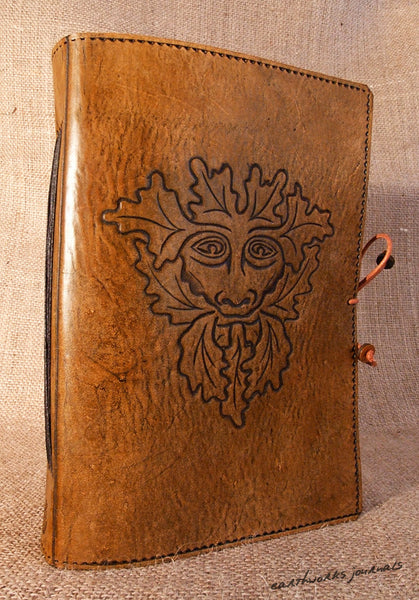 A5 brown leather journal - pagan green man a - earthworks journals - A5C006