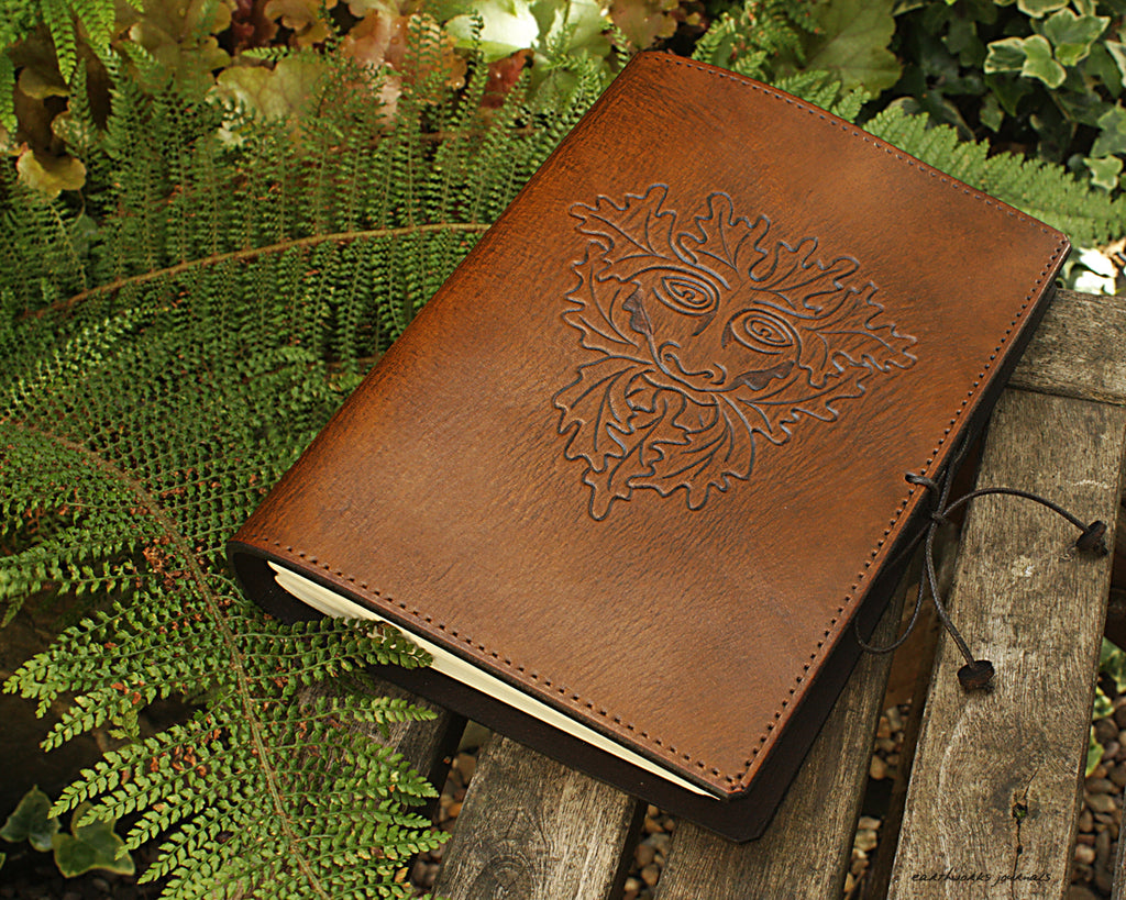A5 brown leather journal - pagan green man - earthworks journals - A5C006