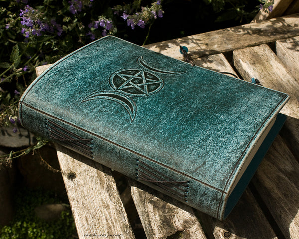 A5 distressed sea blue leather journal - triple moon phase goddess 2 - earthworks journals - A5C048